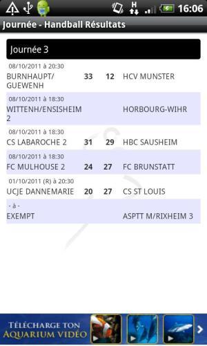 Android Handball Résultats Screen 3