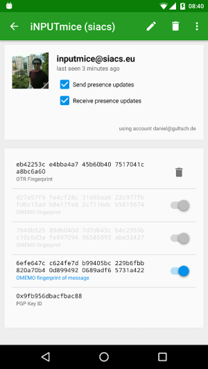 Conversations (Jabber / XMPP) 2.3.1+pcr Screen 5