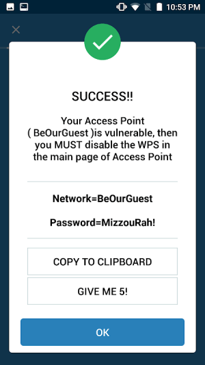 Android WIFI WPS WPA TESTER Screen 4