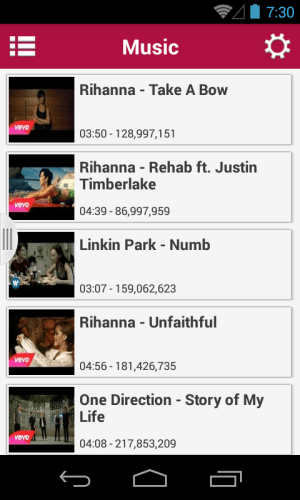 Android Music Tube Screen 1