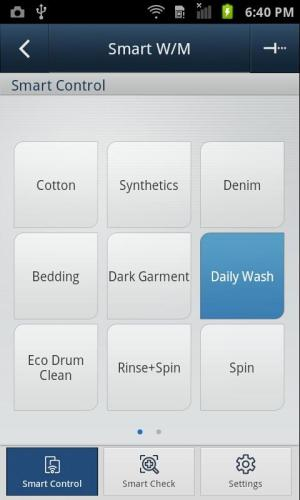 SAMSUNG Smart Washer/Dryer 2.1.37 Screen 1