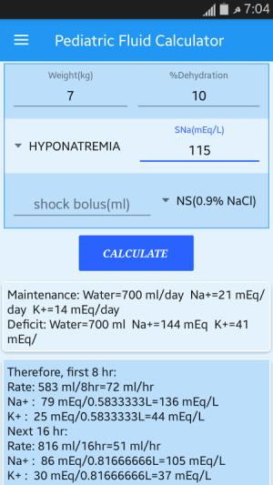 Android Pediatric Fluid Calculator Screen 2
