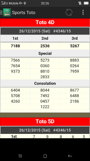 Android MY 4D Results Screen 3