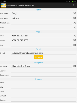 Business Card Reader for Oro CRM 1.1.145c Screen 1
