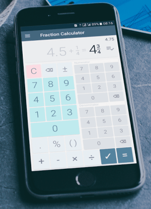 Android Fractions Calculator - detailed solution available Screen 2