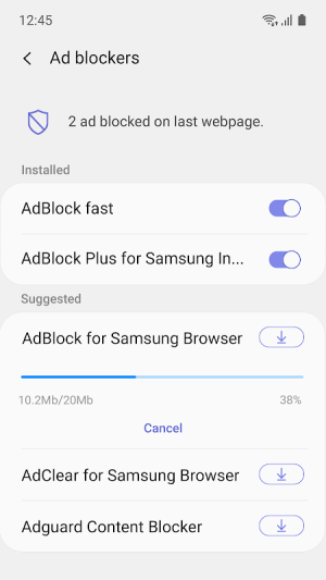 Samsung Internet Browser 10.2.00.53 Screen 2