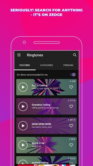 ZEDGE™ Ringtones & Wallpapers 5.75b1 Screen 1