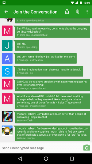 Conversations (Jabber / XMPP) 2.3.1+pcr Screen 3