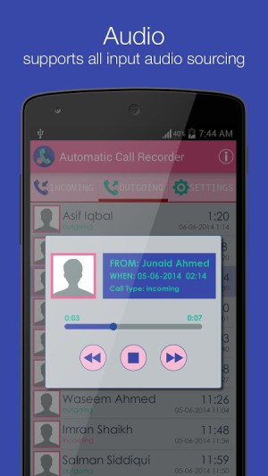 Android Smart Auto Call Recorder Screen 2