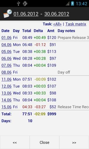 Time Recording - Timesheet App 5.02 Screen 2
