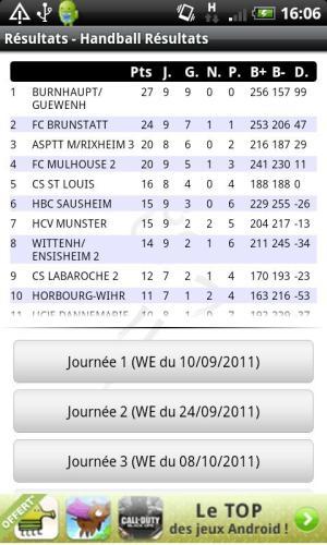 Android Handball Résultats Screen 2
