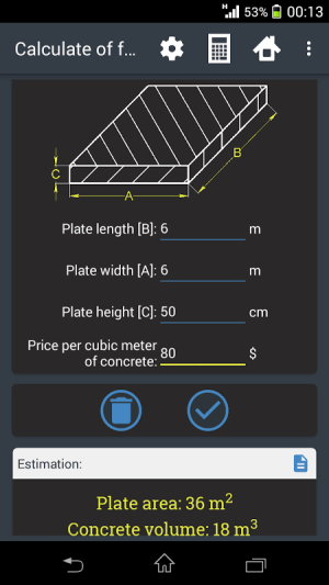 Building calculator 1.9.0 Screen 3