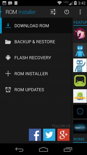 ROM Installer 1.3.4.0 Screen 1