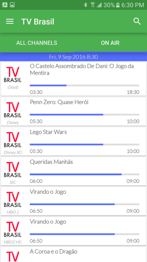 Android Brazil Live TV Guide Screen 1