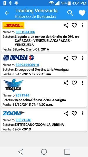 Android Tracking Venezuela Screen 1