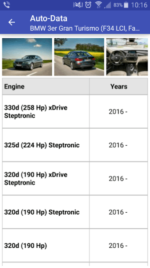 Mobile app of the website for car technical specifications www.auto-data.net. 3.3.2c Screen 3