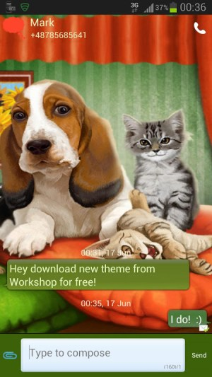 Android GO SMS Pro Theme Dog Cats Screen 1