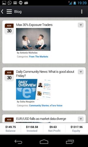 Android eToro - Mobile Trader Screen 3