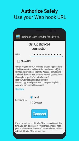 Android Bitrix24 CRM Business Card Reader Screen 1