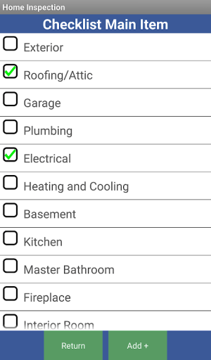 Android Home Inspection Checklist Screen 7