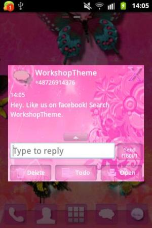 Android Pink Flowers Theme GO SMS Pro Screen 3