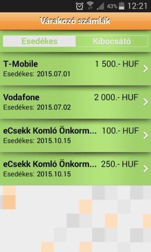 iCsekk mobil fizetés 19.2.12 Screen 3
