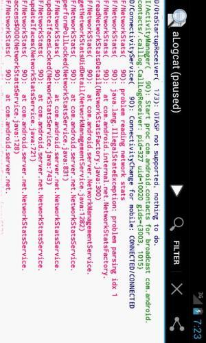 aLogcat (free) - logcat 2.6.1 Screen 1