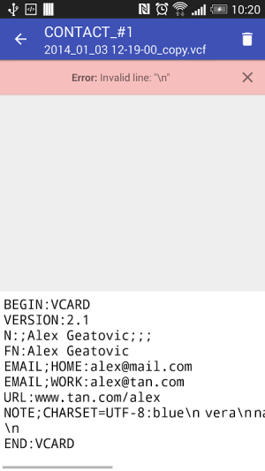 Contacts VCF 3.0.3 Screen 8