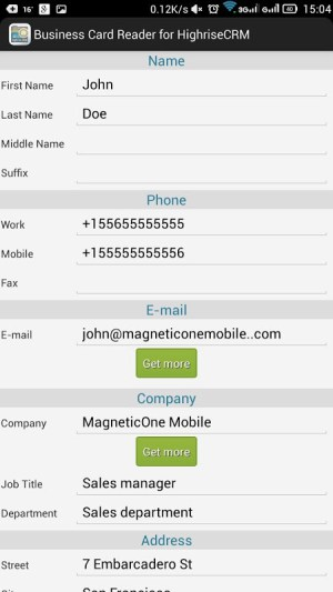 Business Card Reader for Highrise CRM 1.1.145c Screen 4
