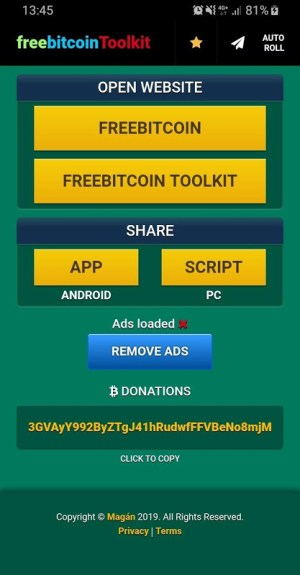 Android FreeBitcoin Toolkit Screen 5
