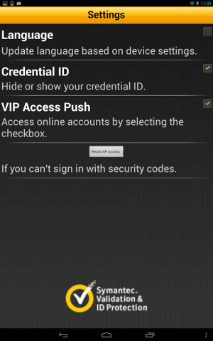 VIP Access 2.2.1 Screen 1