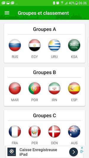 Android Coupe du monde 2018  Alerte Résultats Calendrier Screen 1