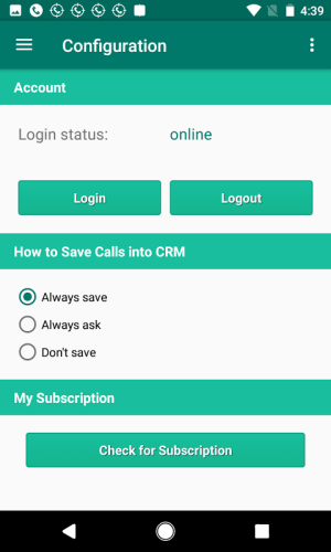 Call Tracker for Act! Essentials CRM 1.0.114c Screen 2