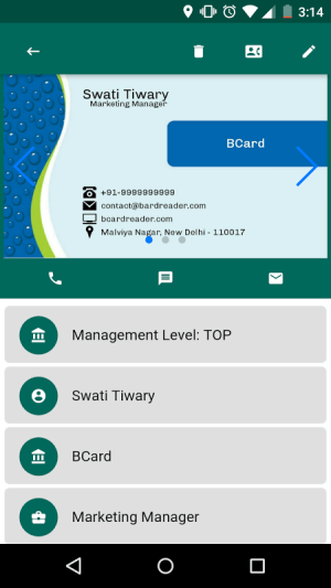 Android BCard Business Card Reader Screen 5