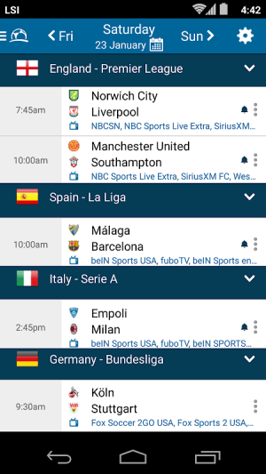 Live Sports Schedule Channel Lineup Siriusxm >> Live Football Tv Schedules App 4 1 3 3 Apk Download By Live