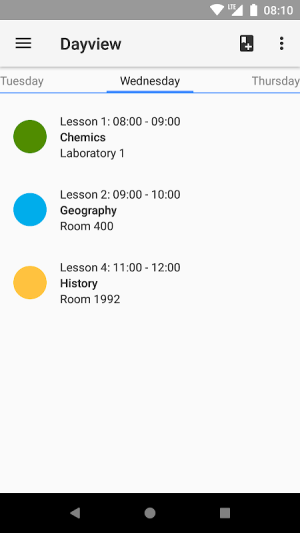 Android Timetable Screen 1