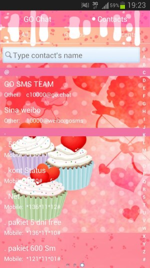 Android GO SMS Pro Theme cupcake heart Screen 4