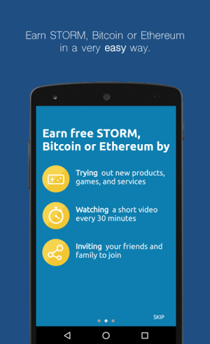 Android StormX: Shop and earn or play and earn free crypto Screen 1
