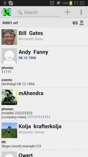 Contacts VCF 2.1.6 Screen 4
