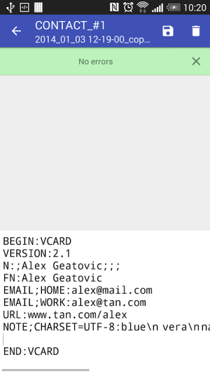 Contacts VCF 3.0.3 Screen 9