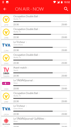 Android Canada Live TV Guide Screen 5