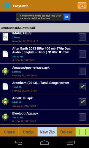 Android EasyUnzip-Zip Screen 2