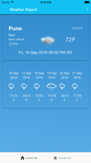 Android Weather-Report Screen 1