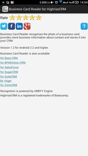 Business Card Reader for Highrise CRM 1.1.145c Screen 7