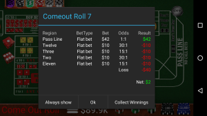 Craps Trainer Free 2.10 Screen 8