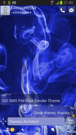 Android GO SMS Pro Blue Smoke Theme Screen 1
