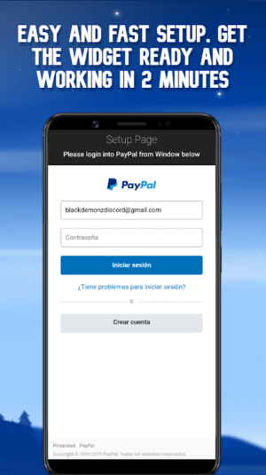 Android Paypal Balance Widget Screen 1