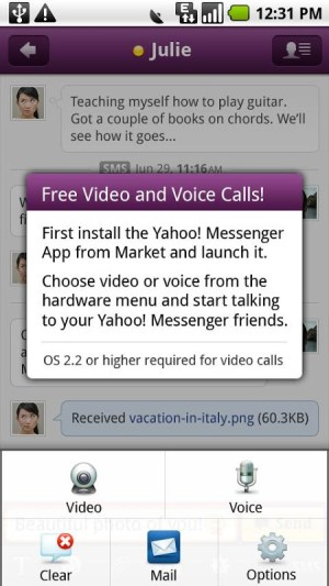 Android Yahoo Messenger Plug-in Screen 1