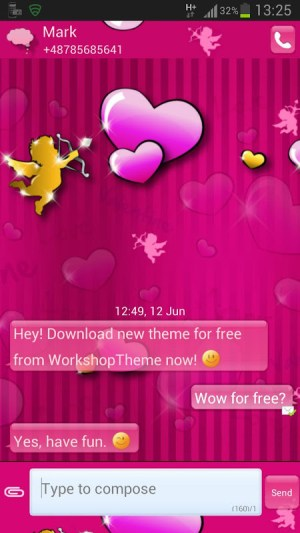 GO SMS Pro Theme lovely pink 3.5 Screen 1