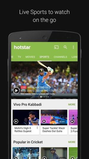 Android Hotstar Live TV Screen 1